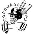 skull in baseball helmet vector image