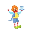 Colorful Friendly Clown Holding Top Hat In Classic vector image