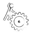 man and gear wheel vector image