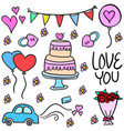 doodle of wedding element various style vector image