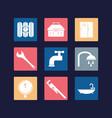 flat set icon tools plumbing vector image