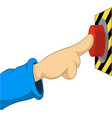 cartoon hand push the button vector image vector image