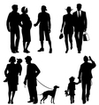 Several people city live silhouettes vector image