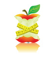Apple with measure tape vector image