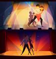 dance banners set retro cartoon vector image