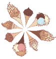 ice-cream cones vector image