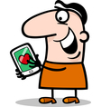 man with love message on tablet cartoon vector image