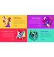 Set of Dancing Web Banners in Flat Design vector image
