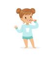 adorable cartoon girl brushing her teeth kids vector image