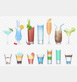 set of realistic alcoholic cocktails vector image