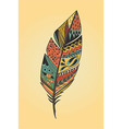 Vintage tribal ethnic hand drawn colorful feather vector image