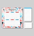 cute calendar daily and weekly planner template vector image