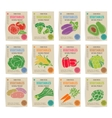 Hand drawn vegetables posters set vector image
