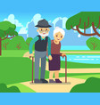 happy cartoon older female in love outdoors old vector image