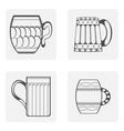 monochrome icon set mug beer vector image