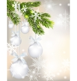 Five shiny glossy silver balls with bows and fir vector image