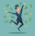 happy businessman jumping under money rain vector image vector image