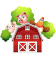 A sheep a pig and a chicken hiding at the back of vector image vector image
