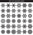 Set 36 black different snowflakes of handmade for vector image