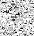 Sketch Seamless Pattern With Funny Monsters vector image