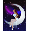 beautiful girl moon and stars vector image