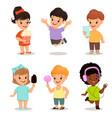 children set cute kids with popcorn smartphone vector image