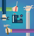 Construction concept of hands with tools repairing vector image
