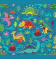 cute cartoon dinosaurs endless background vector image