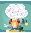Dreaming school girl at the desk vector image