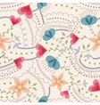 Flowers and hearts pattern vintage vector image