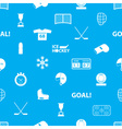ice hockey sport icons blue and white seamless vector image