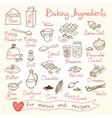 Set drawings of baking ingredients for design vector image