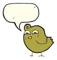 cartoon funny bird with speech bubble vector image