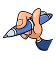 Hand holding blue pen 2 vector image