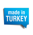 made in Turkey blue 3d realistic speech bubble vector image