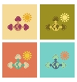 assembly flat icons nature earth greenhouse effect vector image