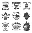 set of steak house emblems grilled meat barbecue vector image