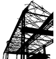 Silhouette of an old factory in black and white vector image