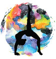 Women silhouette one legged downward facing dog vector image