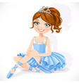 Beautiful ballerina girl in blue dress and tiara vector image vector image