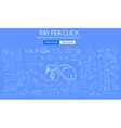 Pay Per Click concept with Doodle design style vector image