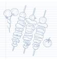 Shish kebabs on skewers vector image