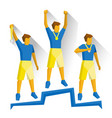 champions on the podium game winners with medals vector image