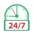 Clock icon flat design Watches 24h 7 days a vector image