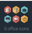 colorful business and office flat design icons set vector image