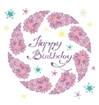 happy birthday lettering in a hand drawn frame vector image