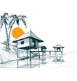 House built on water or water bungalows sketch vector image