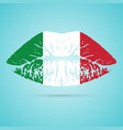 italy flag lipstick on the lips isolated on a vector image