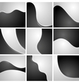 Set of black and white wavy backgrounds vector image