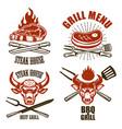 set of steak house emblem templates bbq grill menu vector image